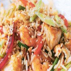 Chicken and prawn stir fry