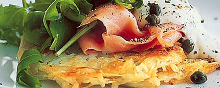 Smoked salmon on crisp rosti