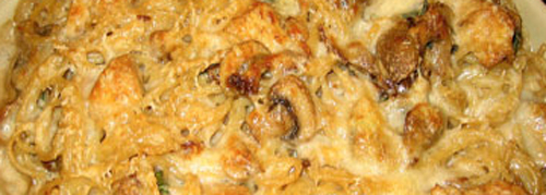 Baked Spaghetti with chicken and mushrooms