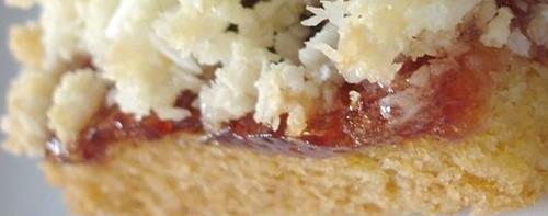 Coconut and jam slice