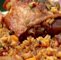 Roast chicken pieces with Mexican rice