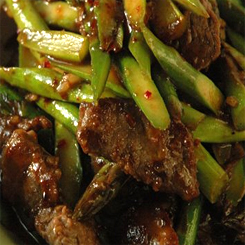 Beef with asparagus and oyster sauce