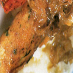 Chicken sausage with creamy mashed potato