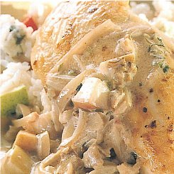 Summer rice salad with warm chicken breast