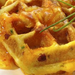 Ham and Cheese Waffles