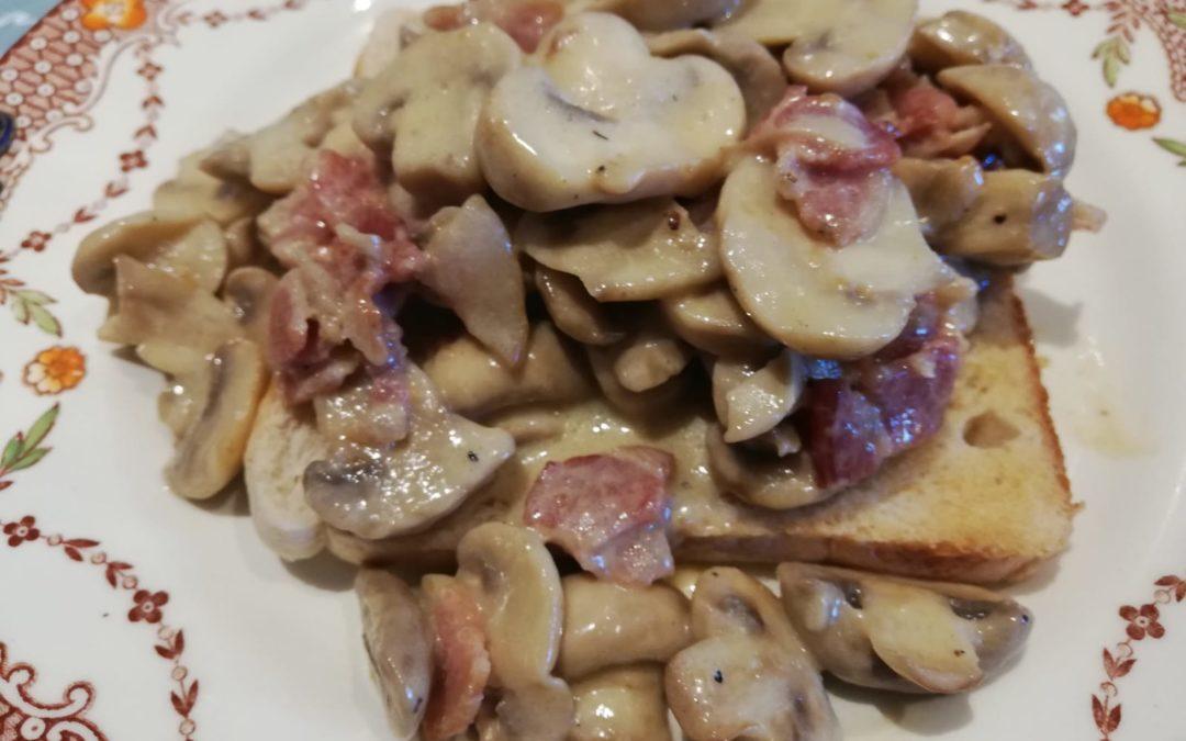 Tashas Hyde Park Creamy bacon and Mushrooms on Toast