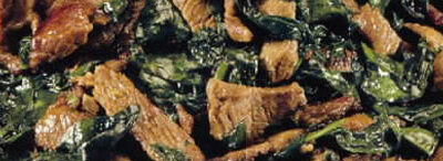 Spicy beef with spinach